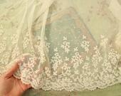 28x15 quot Antique rare cotton applique tulle lace intricate piece flapper 1920s edwardian colonial victorian 18th century regency