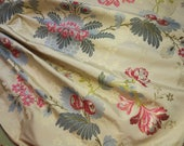 Gorgeous Brunschwig Fils pure silk brocade lampas metallic piece rose motif 18th century style french marie antoinette flower projects