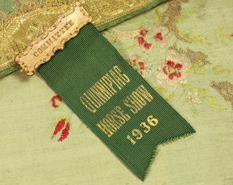 Vintage 1936 green silk Quinnipiac Prize committee badge horse show ribbon shabby paris apartment decor red orange 1910 rosette