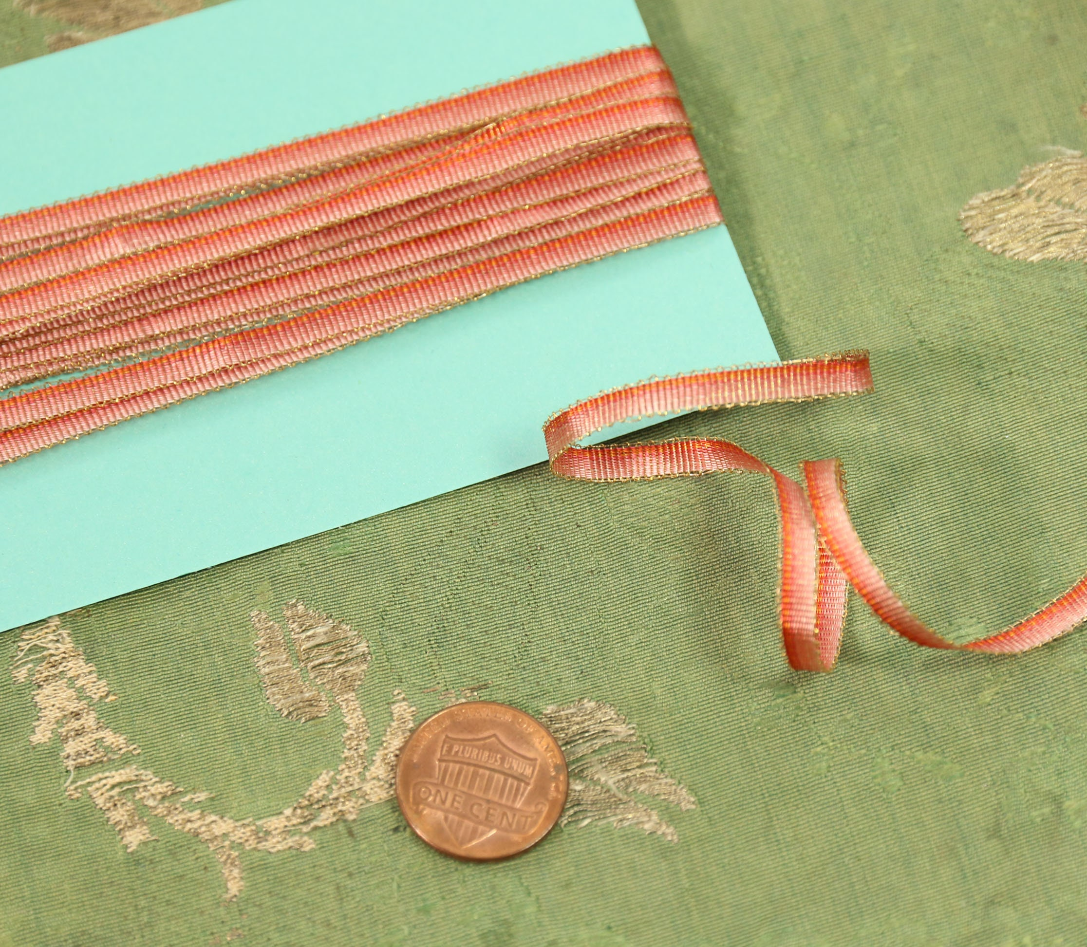 "Vintage French Peach Ombre Rayon Ribbon Flowers  3//16/""  3 yards"