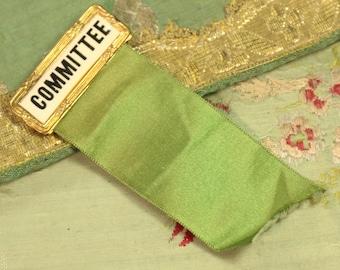 Vintage antique green silk Prize committee badge horse show ribbon shabby paris apartment decor red orange 1910 rosette