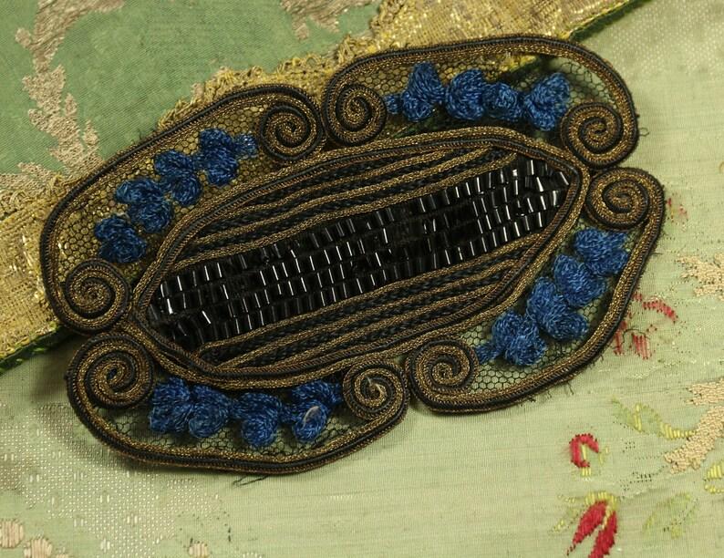 Antique gorgeous tulle metal applique trim piece egyptian etsy