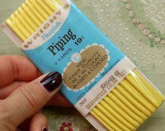 """Vintage card unopened yellow piping 100% cotton bias binding trim 7/16"""" wide 3 yards wiggle dress 1950s sewing pajamas"""