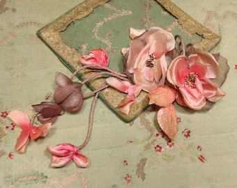 """Antique large 14"""" double rose silk metal lame dangle flower 1920s pink shades trim hat cloche flapper  shade millinery flapper dress cloche"""