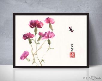 Purple Carnations - sumi-e watercolor painting - 5x7 (Print)