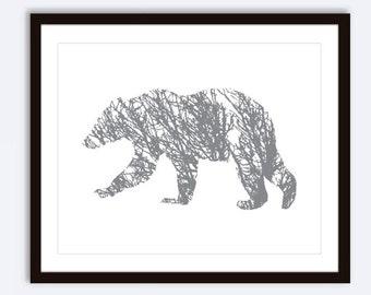 Bear Art Print - Bear Wall Art - Bear Branches Print - Woodland Rustic Modern Wall Art - Slate Grey - Custom Color - 8x10 print