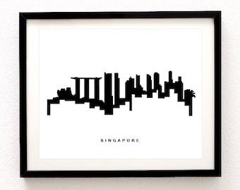 Singapore Skyline Print - Singapore Cityscape Print - Singapore Wall Art - Modern City Print - Black and White - Minimalist Cityscape