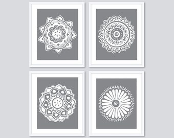 Mandala Prints - Mandala Wall Art - Set of Four Medallion Prints - Modern Wall Art - Modern Home Decor