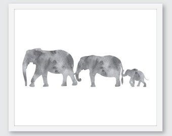 Elephant Family Art Print, Animal Wall Art, Nursery Decor, Grey and white, baby shower gift, minimalist family print, nursery wall art