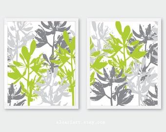Floral Wall Art, green and grey flower prints, set of 2 prints, floral decor, botanical art prints, modern flower wall decor, CUSTOM COLORS
