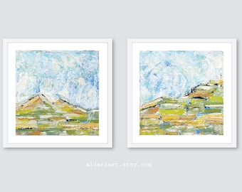 Abstract Landscape Prints, Set of 2, landscape Living Room Wall Art, Contemporary Art, nature wall decor