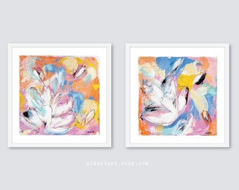 Abstract Colorful Flower Prints, Set of 2, Contemporary Wall Art, Floral Wall Art Living Room Wall Art