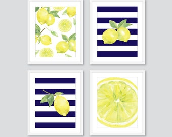 Lemon Prints, Fruit Wall Decor, Lemon Kitchen Wall Art, Lemon Decor, navy blue and yellow, set of 4 prints, choose stripe color