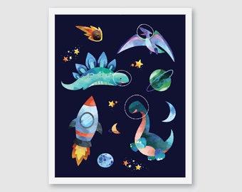 Dinosaur Art Prints, Space Wall Decor, Boy Bedroom Decor, Nursery Wall Decor, navy blue orange green
