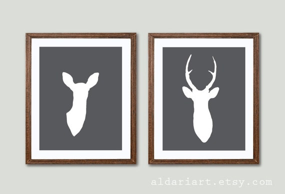 Modern Deer Antlers Art Prints Deer And Doe Prints Deer Etsy