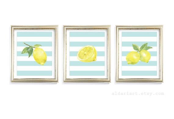 Lemon Art Prints Lemon Wall Art Lemon Watercolour Prints | Etsy