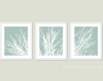 Modern Spring Tree Branches Digital Print Set  Woodland Home Decor - Seafoam Sage Green - Contemporary Multi Panel Tree Triptych Wall Art