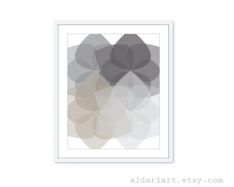 Geometric Flowers Art Print  Modern Decor  Grey Art Print  image 0