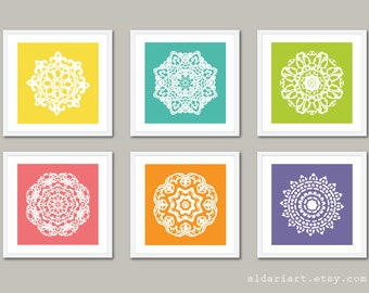 Mandala Art Prints - Modern Medallion Wall Art - Custom Colors