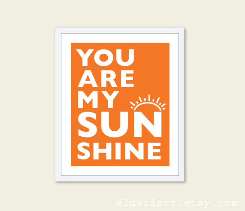 You Are My Sunshine Typography Print Poster Unframed Quote Love Nursery Home