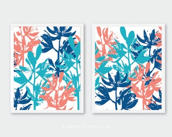 Floral Wall Art, blue and coral botanical prints, set of 2 prints, floral decor, modern flower wall decor, CUSTOM COLORS