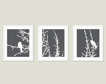Birds and Branches Art Print Set Modern Home Decor Woodland - Titanium Charcoal Grey - Perched Bird Art