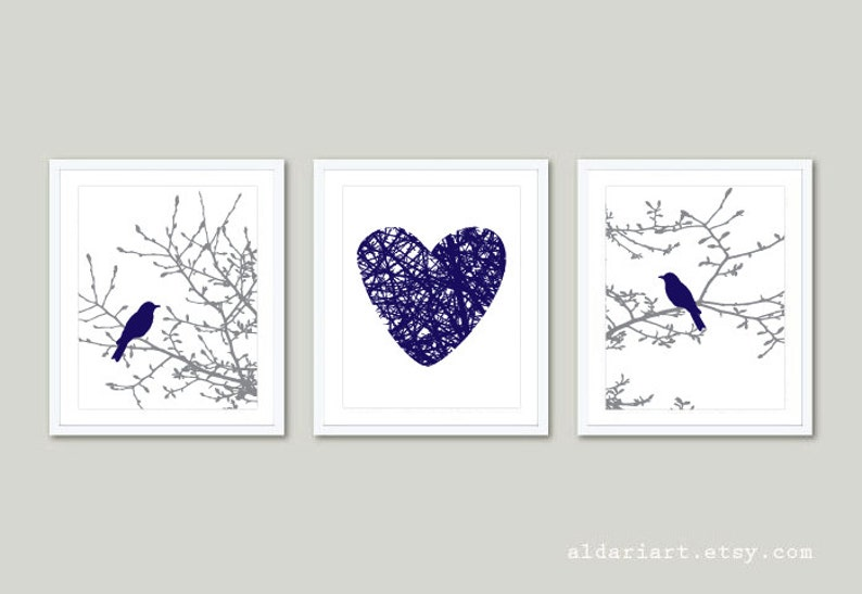 Gray and Coral Set of 3 Wall Art Modern Decor Aldari Art Birds on Branches Prints Birds on Magnolia Tree Branches and Heart Prints