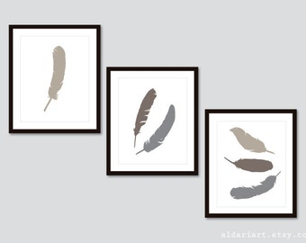 Feathers Art Prints - Set of 3 Prints - Feather Wall Art - Boho Feathers Prints - Feather Decor - Choose Your Colors - Aldari Art