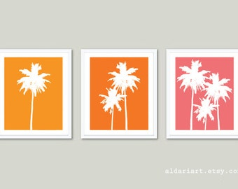 Palm Trees Art Prints Trio - Orange and Pink - Tropical Beach House Wall Art - Summer Decor