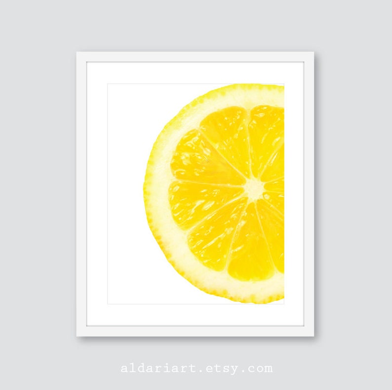 Lemon Art Print, Fruit Wall Decor, Lemon Slice Kitchen Wall Art, Lemon  Poster, Lemon Decor, Lemon Contemporary Kitchen Art, Custom Color
