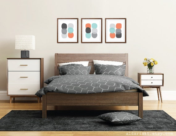 Pebbles Art Prints / Modern Bedroom Wall Art / Geometric Art Prints /  Circles Art Prints / Coral Blue Gray / Modern Decor / Aldari Art