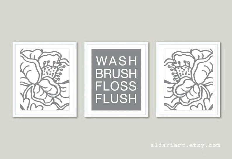 custom color Bathroom Wall Art Prints Floral Bathroom Prints Bathroom Decor wash brush flush fosses flush Bathroom Prints Set of 3