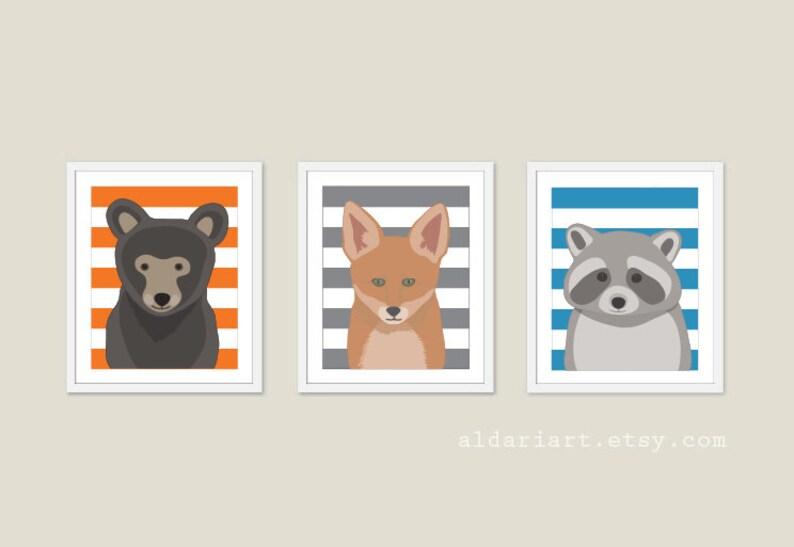 Woodland Animals Nursery Wall Art  Bear Print Fox Print image 0