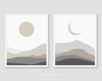 Sun and Moon Prints, Mountains Wall Art, Landscape Wall Decor, Neutral colors grey and taupe, set of two, celestial prints, unframed