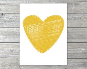 Heart  Art Print - Mustard Yellow Heart - Love Poster - Wall Art Modern Home Decor