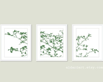 Tree Leaves and Branches Digital Print Set - Woodland Home Decor - Emerald Forest Green -  Contemporary Nature Wall Art  Tree Triptych