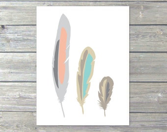 Feathers Digital Print - Boho Tribal Decor - Peach Tan Taupe Pastel Colors - Unique Wall Decor  Home Decor- Under 20