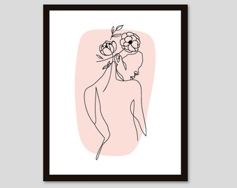 woman line art, Abstract Wall Art, Minimal Woman with flowers Line Drawing, Female nude art, peach decor, CUSTOM COLOR