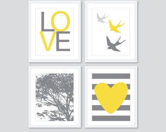 Modern Nursery Art Prints in Yellow and Grey - Love Birds Tree Heart - Nursery Wall Art - Choose Your Colors