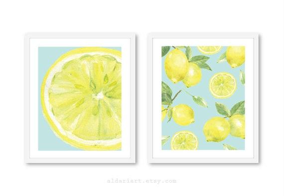 Lemon Art Prints Lemon Wall Art Lemon Wall Decor Lemon | Etsy