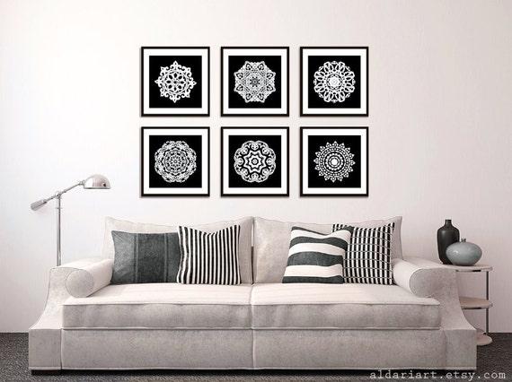 Modernes Mandala Kunstdrucke Schwarz Und Weiß Wand Kunst | Etsy