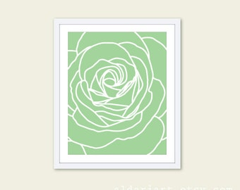 Green Rose Art Print - Rose Wall Art - Modern Decor - Rose Poster - 8x10 - Custom Color - Aldari Art