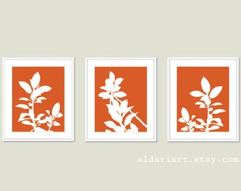 Botanical Print Set - Pumpkin Orange and White Plants - Modern Home Decor - Botanical Wall Art - Spring Decor