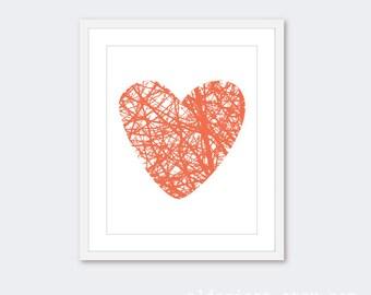 Heart Print Heart Wall Art Modern Decor Woodland Heart Print  heart Branches Print Nursery Decor Nursery Wall Art Nursery Print Custom Color
