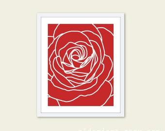 Red Rose Modern Flower Art Print  - Contemporary Flower Wall Art  - Home Decor - Modern Rose Poster