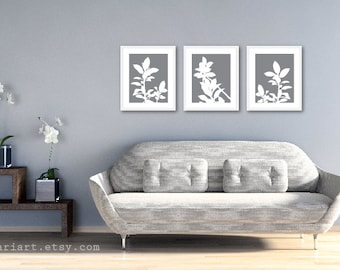 Botanical Print Set - Slate Grey and White Plants - Modern Home Decor - Botanical Wall Art - Spring Decor