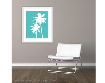 Palm Trees Art Print - Turquoise Aqua Blue - 16x20 Wall Art  - Tropical Palm Tree Art Poster Beach - House Home Decor