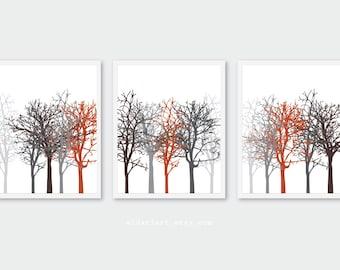 Autumn Trees Art Prints - Tree Wall Art - Set of 3 prints - Woodland Decor - minimalist tree art - fall decor - custom colors
