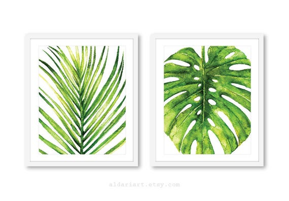 palm leaf art print monstera leaf art print tropical leaf etsy