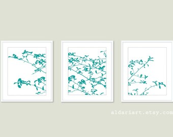 Tree Leaves and Branches Digital Print Set - Woodland Home Decor - Teal Blue - Contemporary Nature Wall Art  Tree Triptych